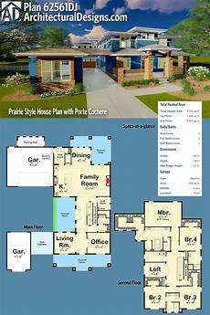 house plans porte cochere plan 62561dj prairie style house plan with porte cochere