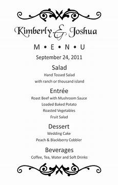 half sheet wedding menu template 1