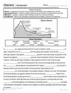 earth science glaciers worksheets 13303 glaciers introduction and types by geo earth sciences tpt