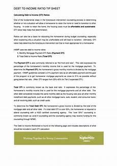 debt to income worksheet printable pdf download