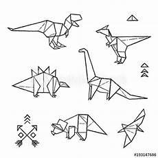 ink origami tattoos dinosaurs set vector illustration