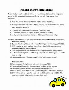 kinetic energy calculation questions by pinkhelen teaching resources tes