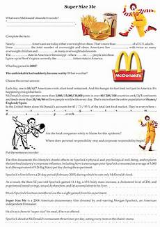 cozy english worksheet super size me movie questions