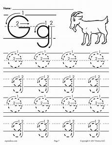 preschool letter g tracing worksheets free printable letter g tracing worksheet with number and arrow guides supplyme