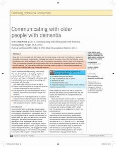 Pdf Communicating With With Dementia