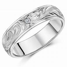 6mm hand engraved titanium cz stone wedding ring band