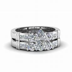 marquise cut channel bar diamond wedding ring sets in