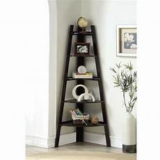 stylish wooden corner rack wall display 5 shelves bookcase