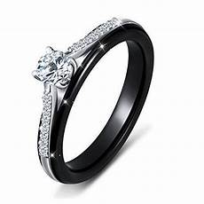 black ceramic s925 sterling silver bridal ring for