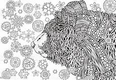 winter snowing coloring book page for stock