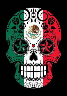 sugar skull with roses and flag of mexico print