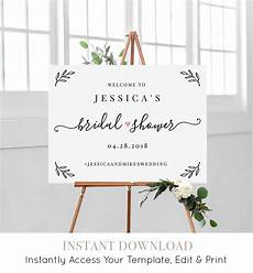 bridal shower welcome sign template editable wedding