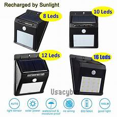 8 48 led solar power pir motion sensor wall light outdoor