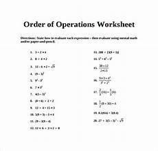 free 11 sle order of operations worksheet templates in pdf