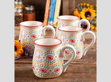 The Pioneer Woman Flea Market 18 oz Decorated Belly Mugs