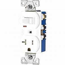 eaton 15 120 volt 5 15 3 wire combination receptacle and toggle switch white tr291w the