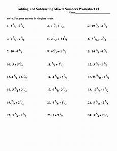 adding and subtracting mixed fractions a adding mixed numbers worksheet funresearcher com