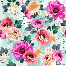 Flower Illustration Wallpaper by Beautiful Seamless Floral Pattern With Watercolor Effect