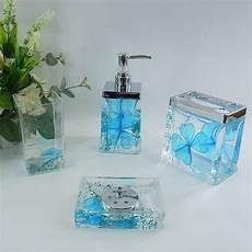 Badezimmer Accessoires Blau - sky blue floral acrylic bath accessory sets h4001