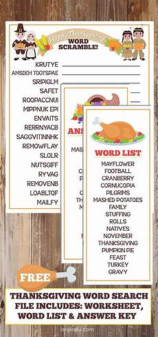 thanksgiving worksheet word scramble landeelu com