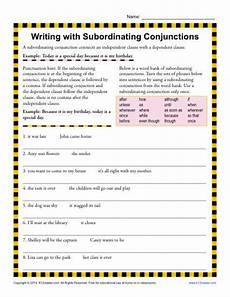 writing with subordinating conjunctions 3rd grade conjunction worksheets