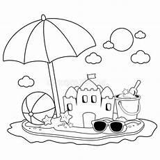 Gratis Malvorlagen Regenschirm Island Umbrella Sea Fishes And Sun In Stock Vector