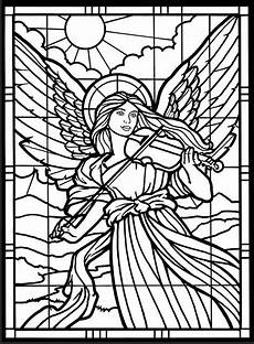 stained glass window coloring pages and print for