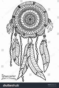 dreamcatcher a4 size pattern coloring stock vector
