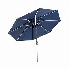 sunray 9 ft 7 ft rectangular market solar lighted patio umbrella in navy 841050 the home depot