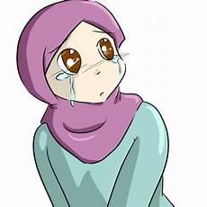 Gambar Kartun Muslimah Sedih Menangis Png 585 215 587