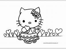 Hello Kitty verjaardag kleurplaten met hartjes