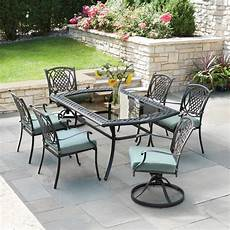 hton bay belcourt 7 piece metal outdoor dining with spa cushions d11334g 7pc the home depot
