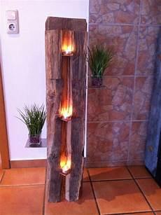 dekorieren mit holz teelichthalter aus altholz www eichenbalken mal anders