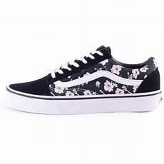 vans skool vintage womens trainers in black floral