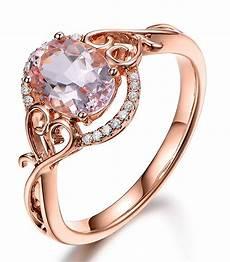 vintage 1 carat morganite and diamond engagement ring in rose gold jeenjewels