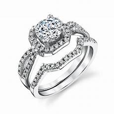 sterling silver cz engagement wedding ring set cubic zirconia and matching band ebay