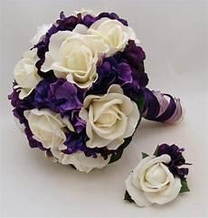 fake flower bouquets purple white bridal bouquet