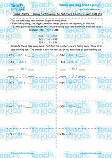 subtraction worksheets partitioning 10224 take away by partitioning numbers 100 5 teach my