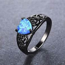 blue opal heart ring black gold ring wedding band carved ring vintage ring fire opal