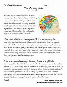 reading comprehension worksheet your amazing brain reading comprehension worksheets