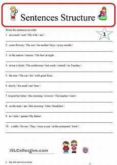 basic sentence structure worksheets year 1 sentence structure 1 sentence structure english