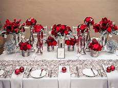 black table setting ideas red white and silver wedding