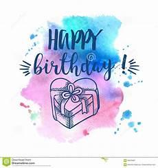 happy birthday aquarell sign on white stock illustration