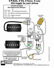 seymour duncan p rails wiring diagram 2 p rails 2 vol 2 tone on off on mini toggle for each