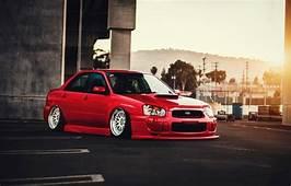 Wallpaper Subaru Impreza WRX Red Car STI Front Sun