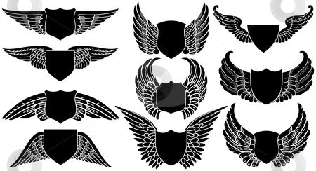 shields  wings stock vector