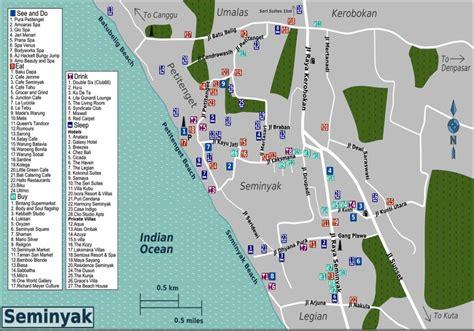 seminyak map kuta bali tourist information