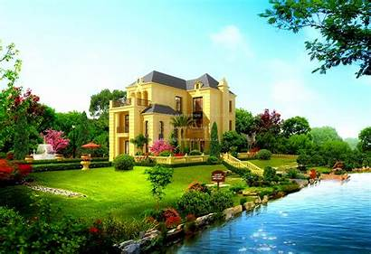 Garden River Statue Mansion Houses Wallpapers Nature
