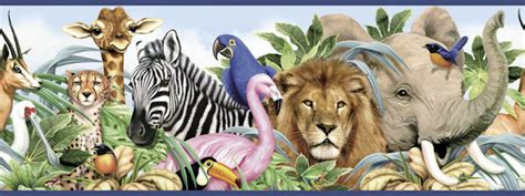 Jungle Animals Wallpaper Border - jungle animals border