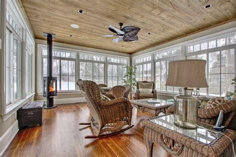 Rustic Sunroom, Antique Wood Floor, Wood Burning Stove